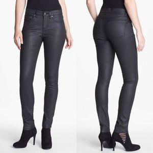 Eileen Fisher Waxed Denim Skinny Jeans in Black